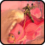 Saddam Hussein Rinding A Pink Fish That Has A Barbie Head In Its Mouth