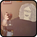 Cardboard Woman Drinking A Glass Of Red Wine
