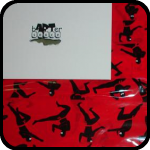 A Package Covered In Red Tape With Black Ninjas